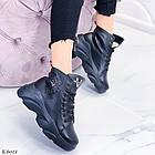 Женские зимние черные ботинки, из натуральной кожи 39 ПОСЛЕДНИЙ РАЗМЕР, фото 3