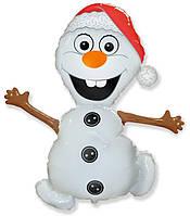 Фольгированный шар (32''/81 см) Фигура, Снеговик, Flexmetal (Испания)