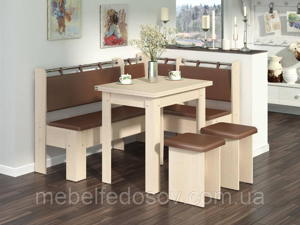 Кухонный уголок с раскладным столом Гетьман  (Пехотин) 1500х1100х850мм