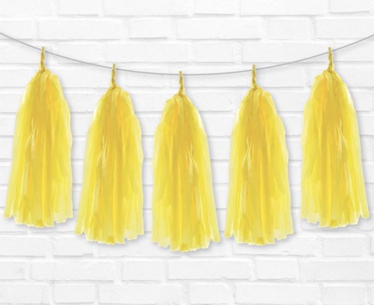 Бумажный тассел  желтый 35см