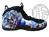 Мужские кроссовки Nike Air Foamposite North Face Supreme Black Blue white