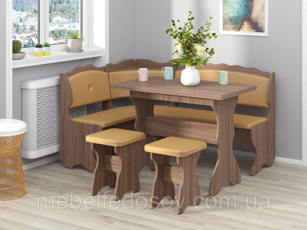 Кухонный уголок с раскладным столом Цезарь  (Пехотин) 1500х1100х850мм