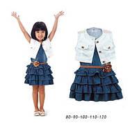 Джинсовое платье с поясом и жилетом для девочки,