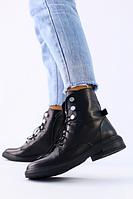 Черные кожаные зимние ботинки на шнурках для девочки