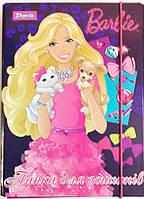 """Папка картонная для тетрадей """"Barbie"""", (на резинке)"""
