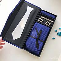 """Стильный Мужской подарочный набор """"Лорд"""": галстук, костюмный платок, запонки, зажим. Roberto Gabbani."""