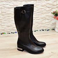 Сапоги женские черные кожаные на невысоком каблуке
