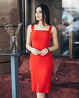 Красное летнее платья футляр (L)