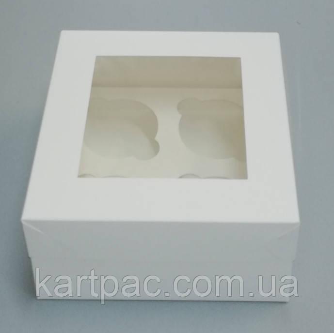 Подарункова упаковка з віконцем для кексів (на 4 шт) 170*170*90