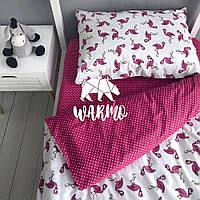 """Комплект дитячої постільної білизни Warmo™ """"Рожеві фламінго"""" 1,5-спальний"""