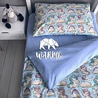 """Комплект дитячої постільної білизни Warmo™ """"Голубі єдинороги"""" 1,5-спальний"""