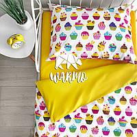 """Комплект дитячої постільної білизни Warmo™ """"Кекси"""" 1,5-спальний"""