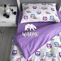 """Комплект дитячої постільної білизни Warmo™ """"Сови"""" 1,5-спальний"""