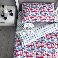 """Комплект дитячої постільної білизни Warmo™ """"Різнокольорові фламніго"""" 1,5-спальний"""