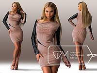 Стильное женское платье вставка кож-зам