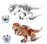 Набор Lele Динозавры Лего большие 2 штуки+2 шара с человечками. Длина 30см. Конструктор динозавр