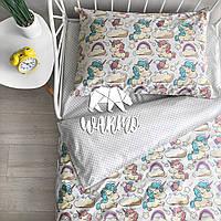 """Комплект дитячої постільної білизни Warmo™ """"Білі єдинороги"""" 1,5-спальний"""