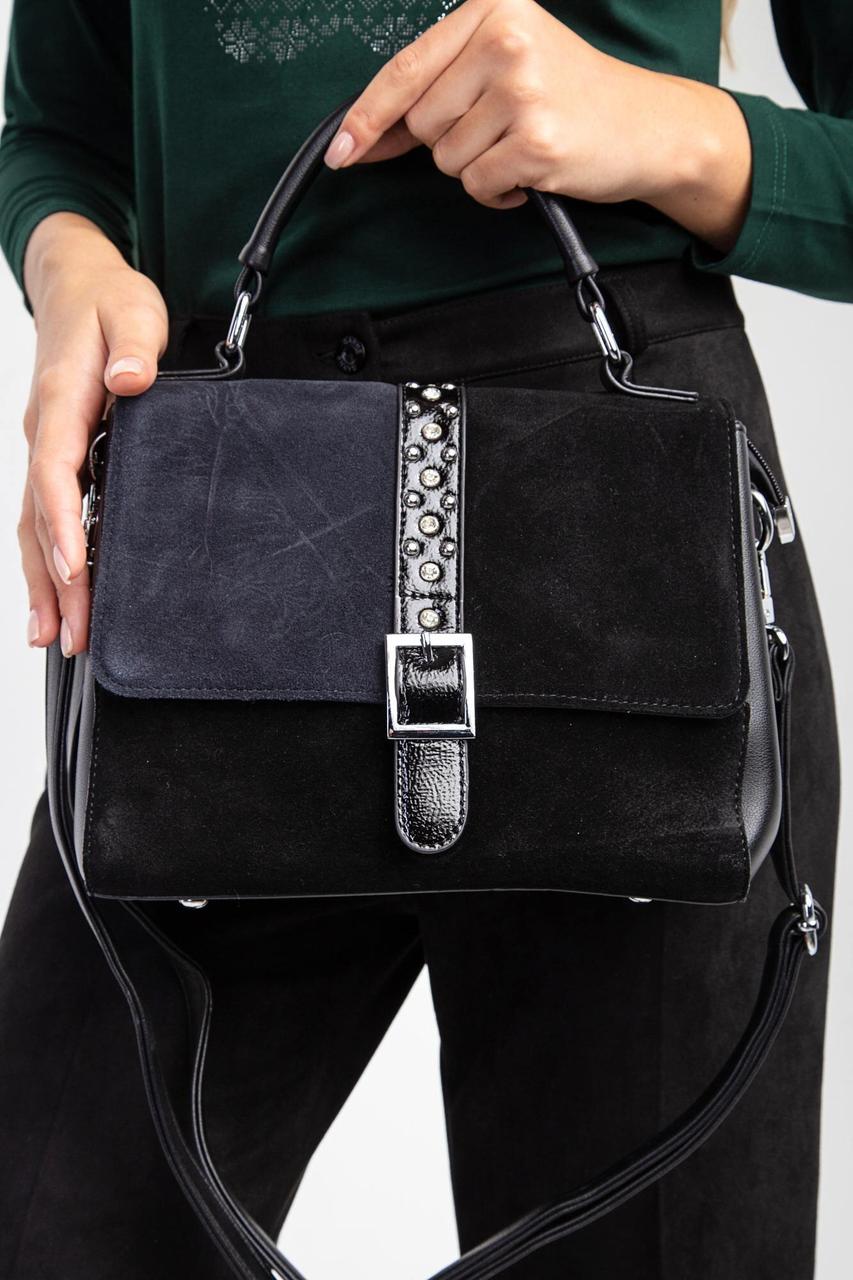 Черная классическая сумка из кожи и серого замша с пряжкой