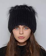 """Норковая шапка женская на вязаной основе """"Петли"""", фото 1"""