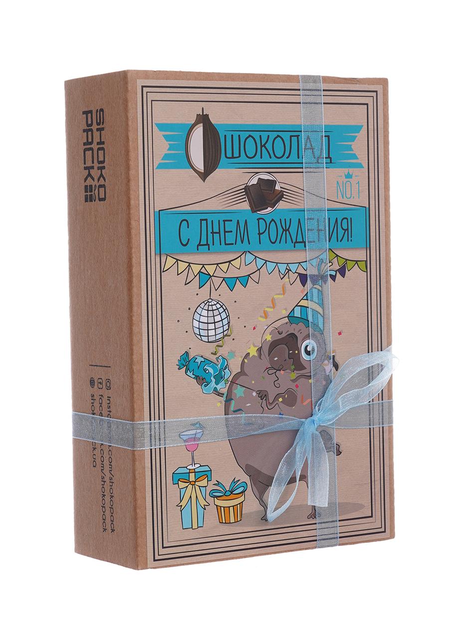 Шоколадный набор Shokopack Крафт-мопс ко дню рождения 20 х 5 г Молочный