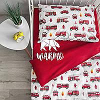 """Комплект дитячої постільної білизни Warmo™ """"Пожежні машини"""" 1,5-спальний"""