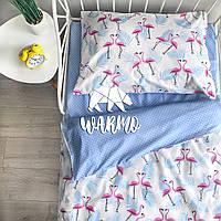 """Комплект дитячої постільної білизни Warmo™ """"Голубі фламінго"""" 1,5-спальний"""