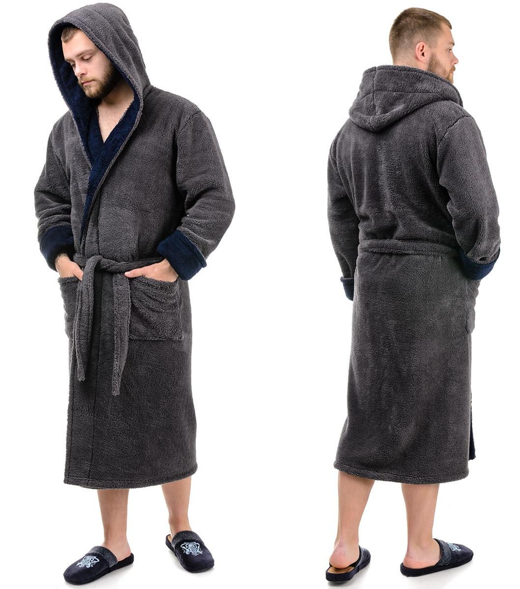 Теплый мужской халат махровый (велсофт) зимний с капюшоном