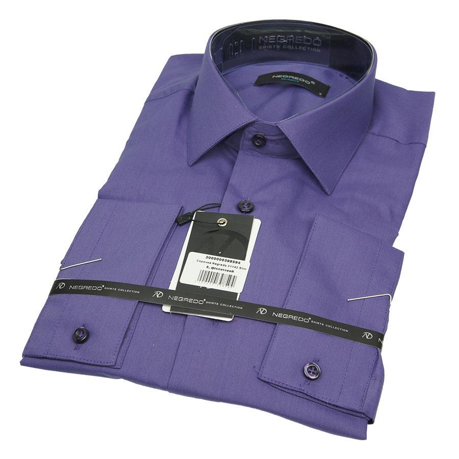 Классическая однотонная рубашка Negredo 31142 Slim