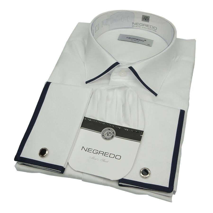 Мужская рубашка Negredo 1053-H запонка+манжет в белом цвете