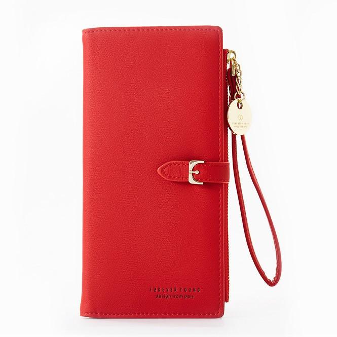 Женский кошелек Pierre Loues PL821-4-1 из экокожи, на кнопке, с отделением на молнии Красный