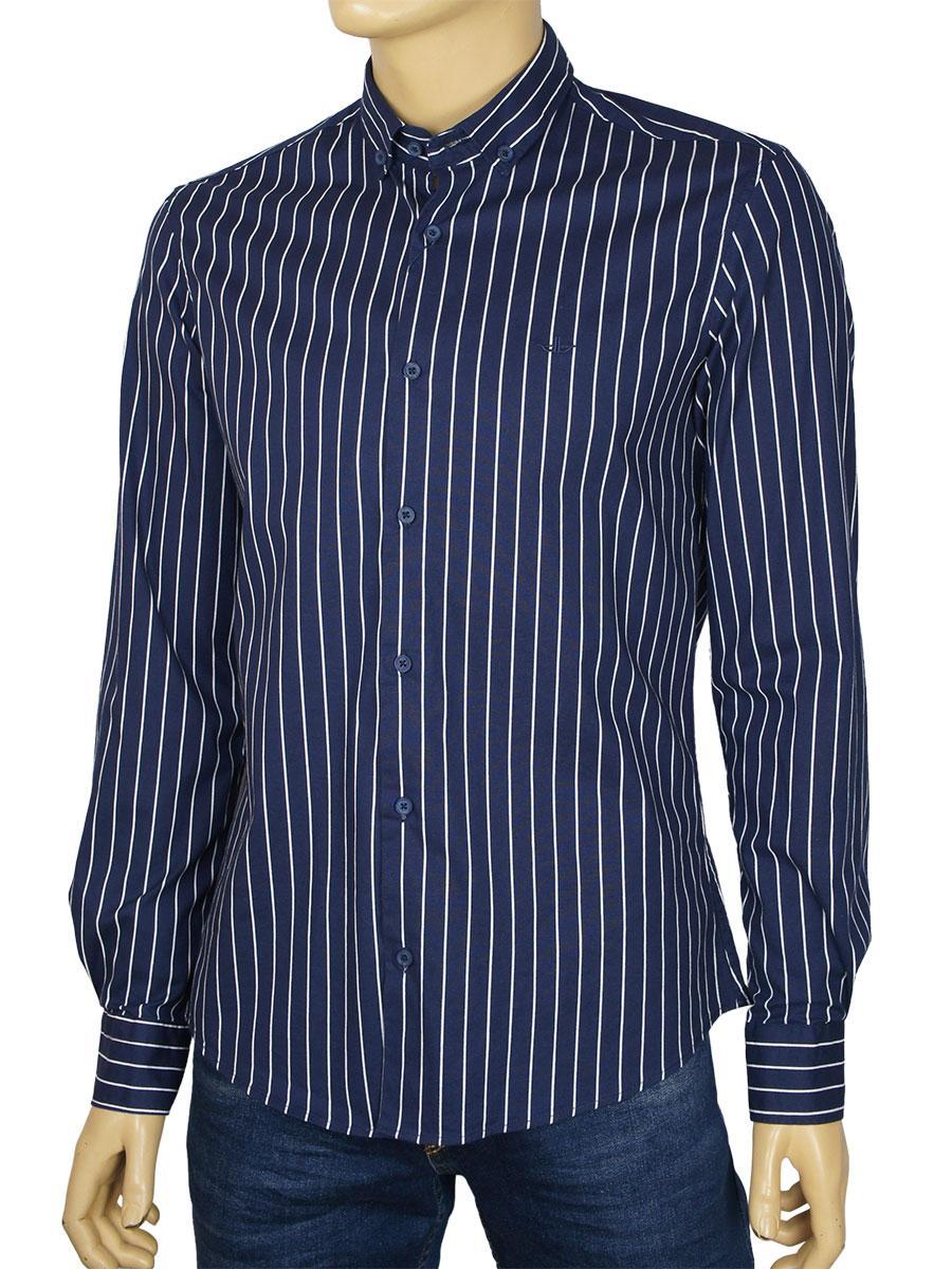 Полосатая мужская рубашка Desibel 2129 C-12 H синего цвета