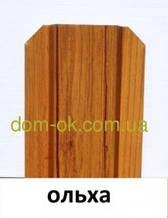 Металевий паркан напівкруглий і трапецевідний під дерево Вільха звичайна/грунт