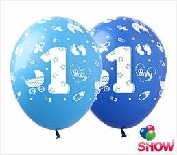 """Кульки надувні 12"""" - 1 рік, хлопчик, 100шт, SDR-57"""