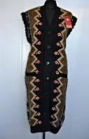 Теплая зимняя безрукавка на  пуговицах из шерсти