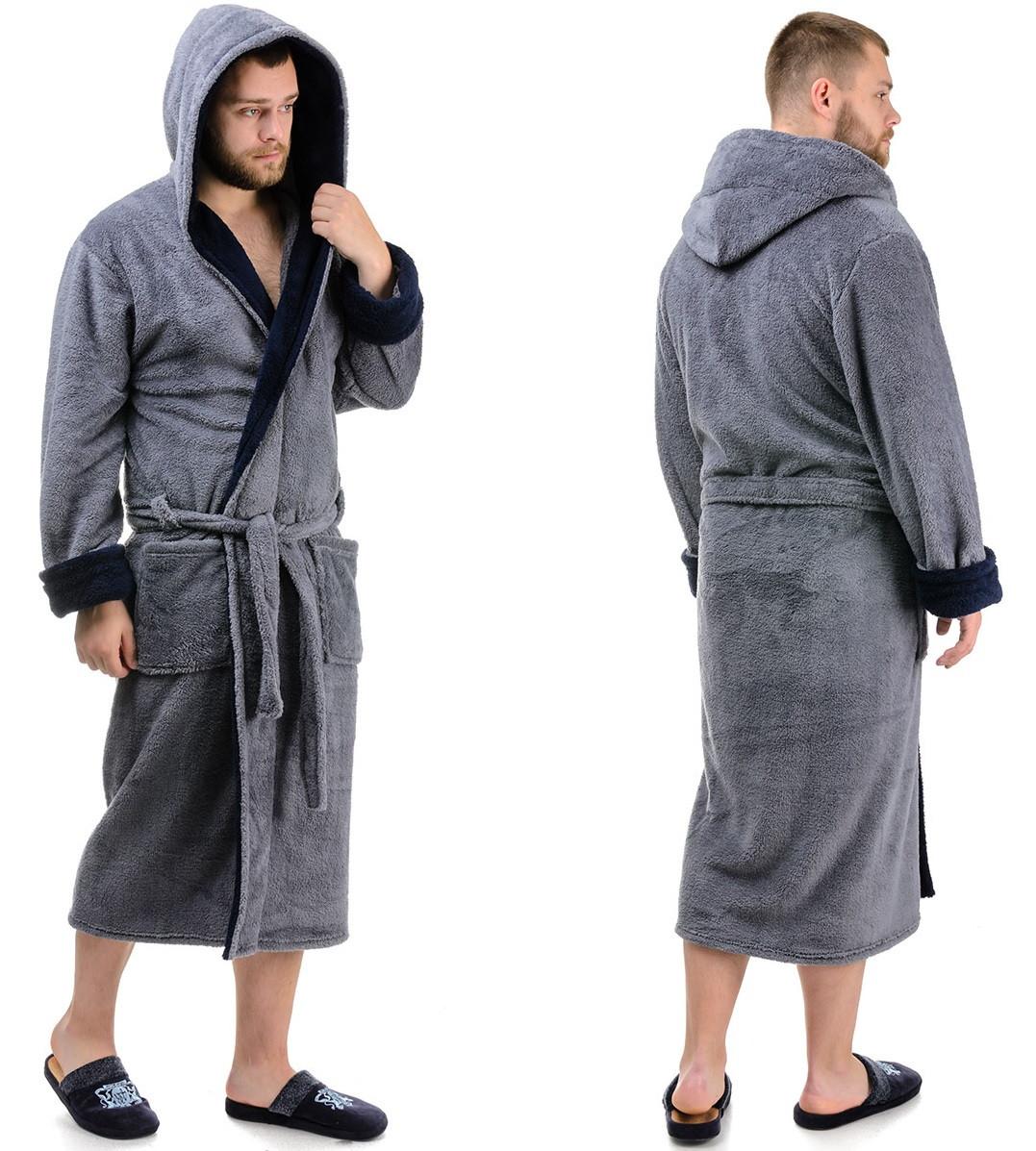Махровый халат мужской теплый (велсофт) зимний с капюшоном