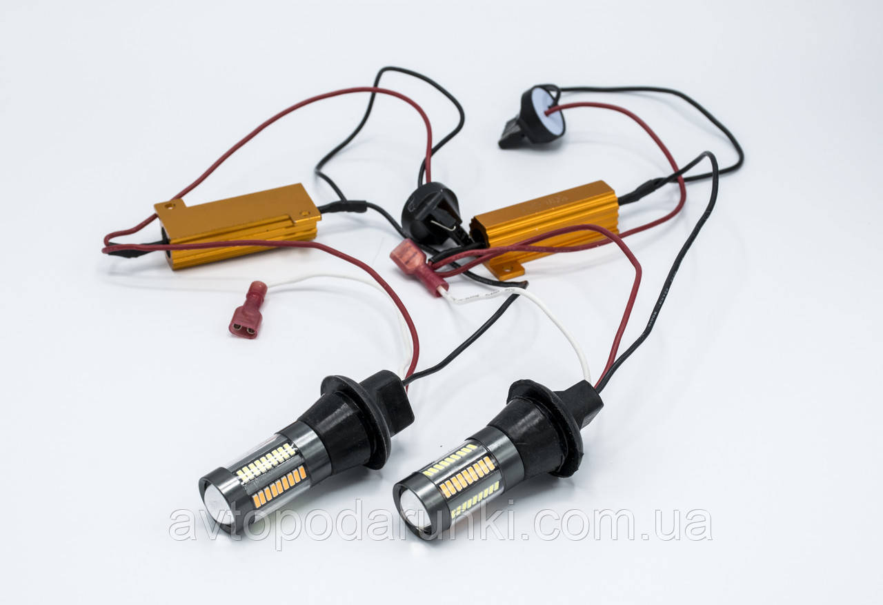 DRL&Turn Light 4014-66SMD LED лампы в повороты с ДХО / T20-7440 / к-кт 2шт