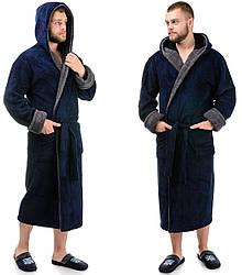 Мужской махровый халат теплый (велсофт) зимний с капюшоном