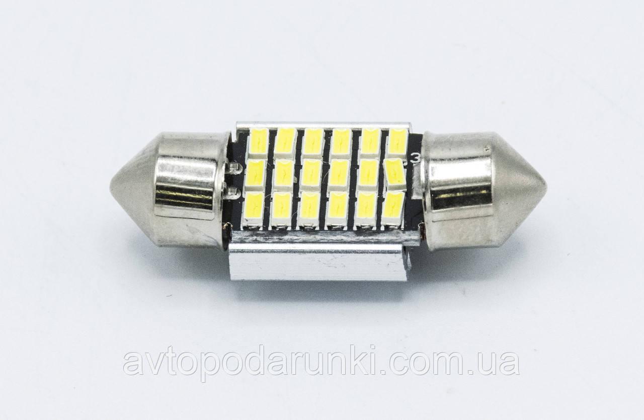 Габарит LED 31мм #49 - 3014 - 18 smd CanBus  радиатор / цвет белый