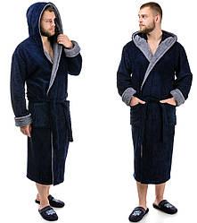Мужской махровый халат теплый (велсофт) зимний с капюшоном на запах