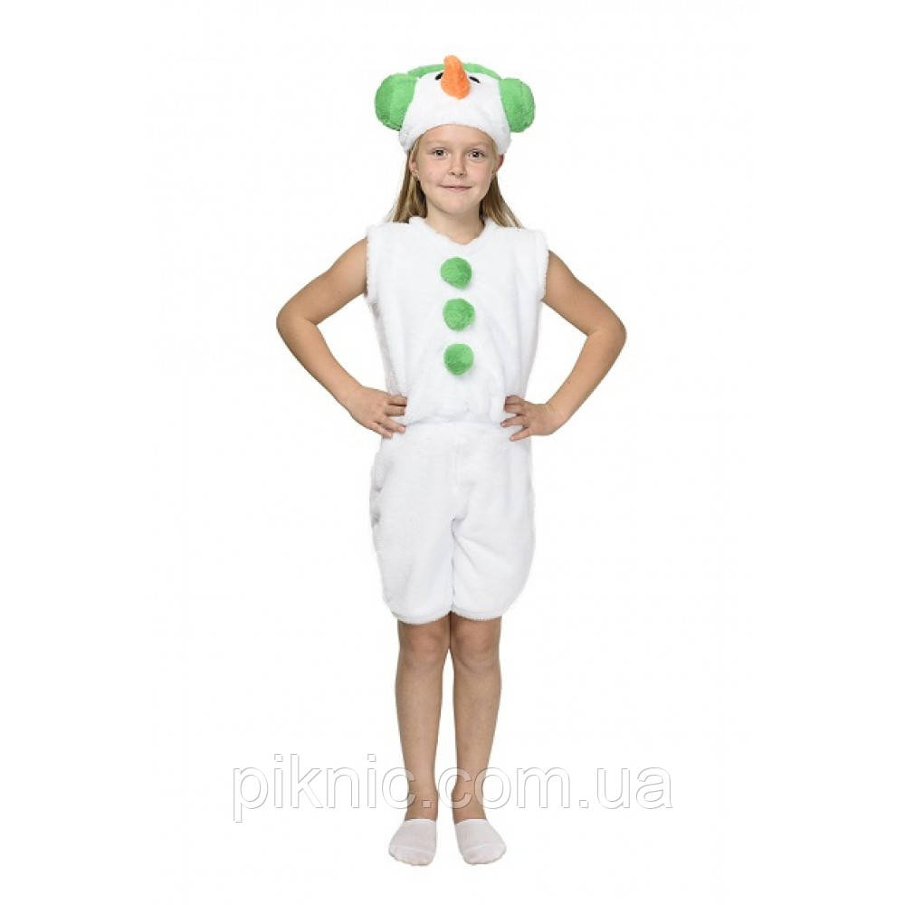 Костюм Снеговик 4,5,6,7 лет Детский новогодний карнавальный маскарадный Снеговичок для детей Зеленый