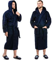 Мужской махровый халат теплый (велсофт) зимний с капюшоном однотонный