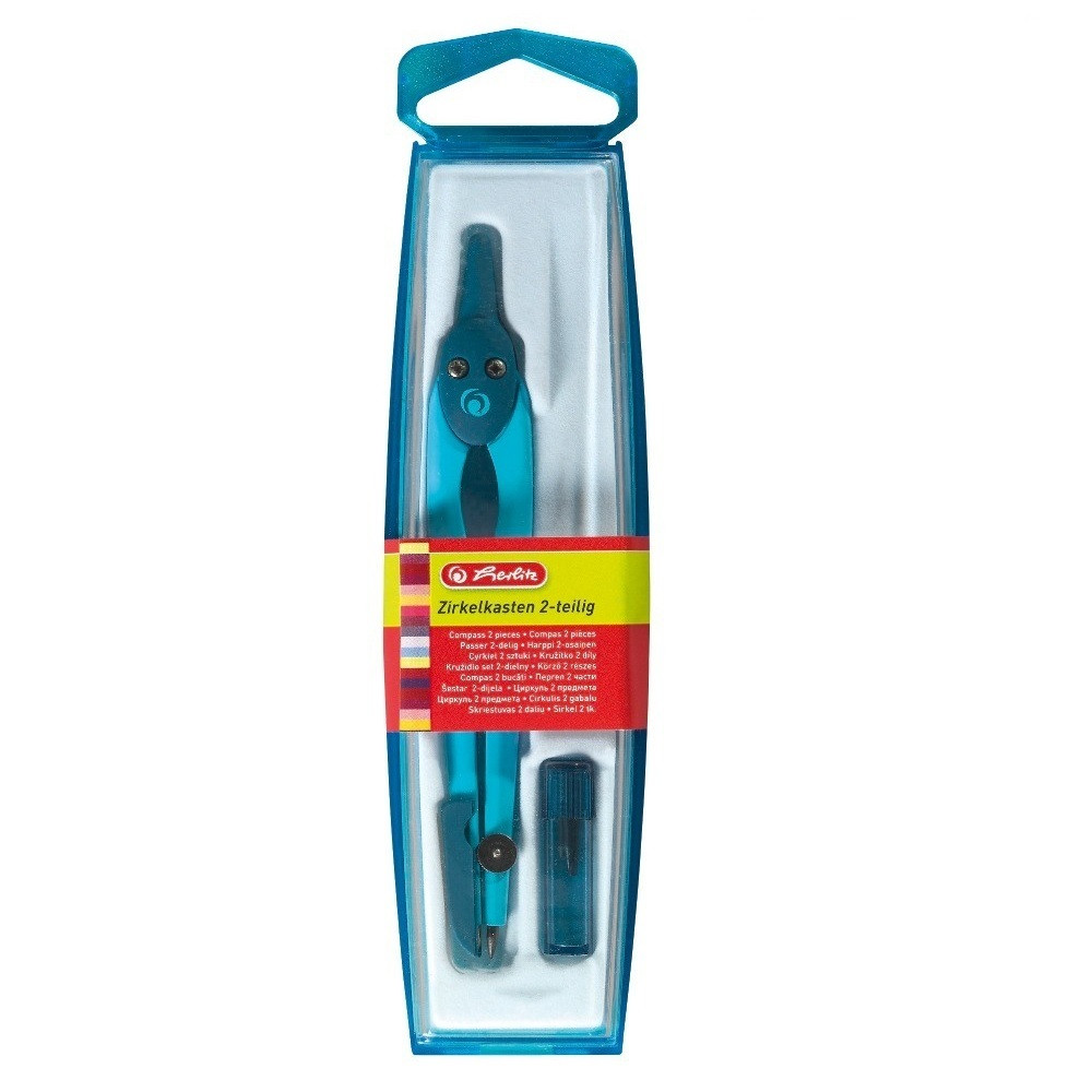 Циркуль Herlitz із запасними грифелями синій