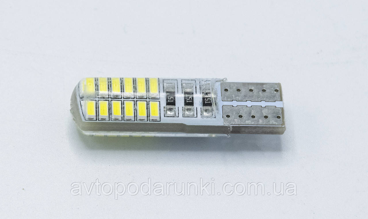Габарит LED T10 #2 - 3014 - 24SMD (в силиконе) / цвет Белый