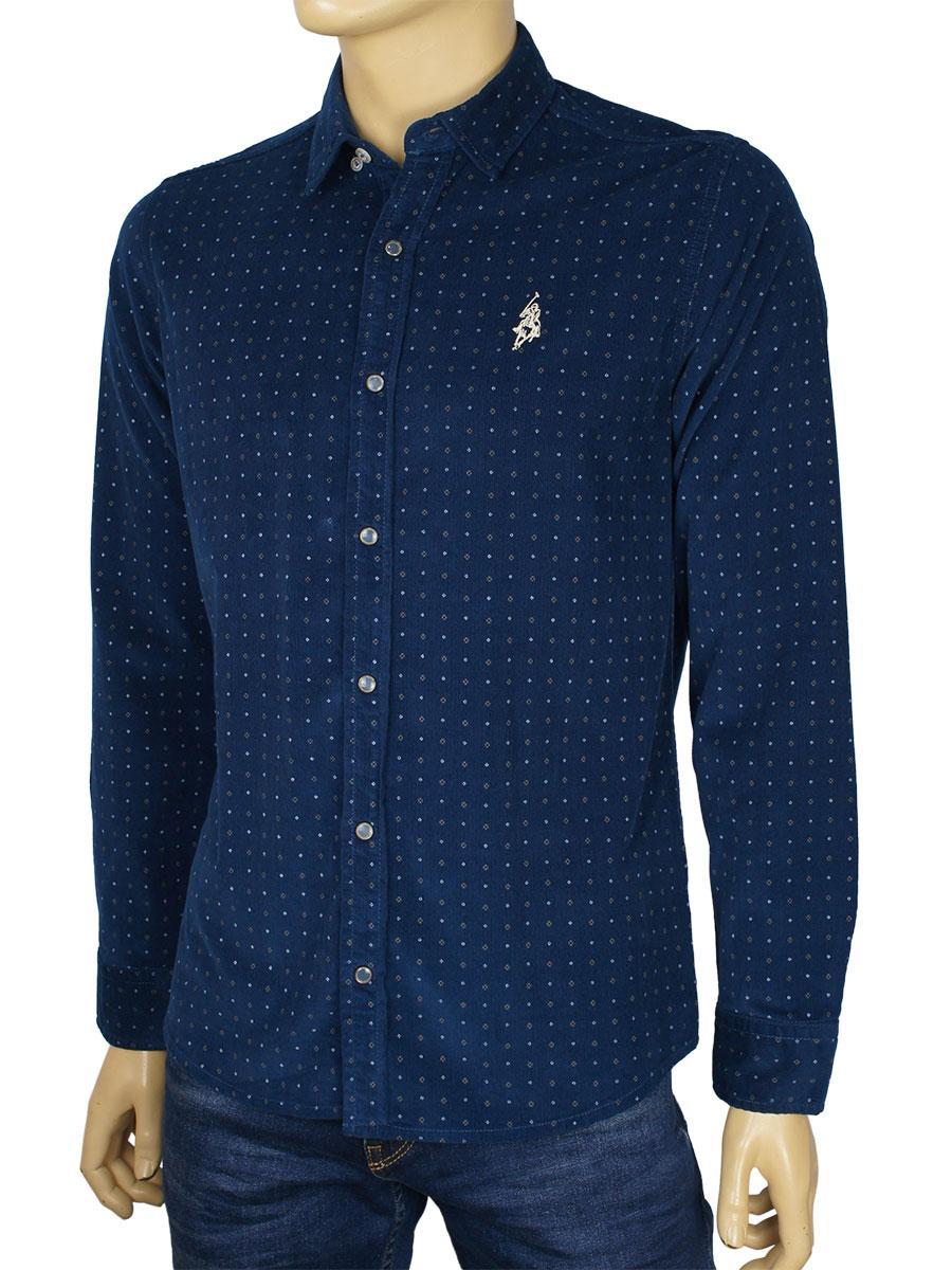 Темно-синяя мужская рубашка Class Polo К:27-1004