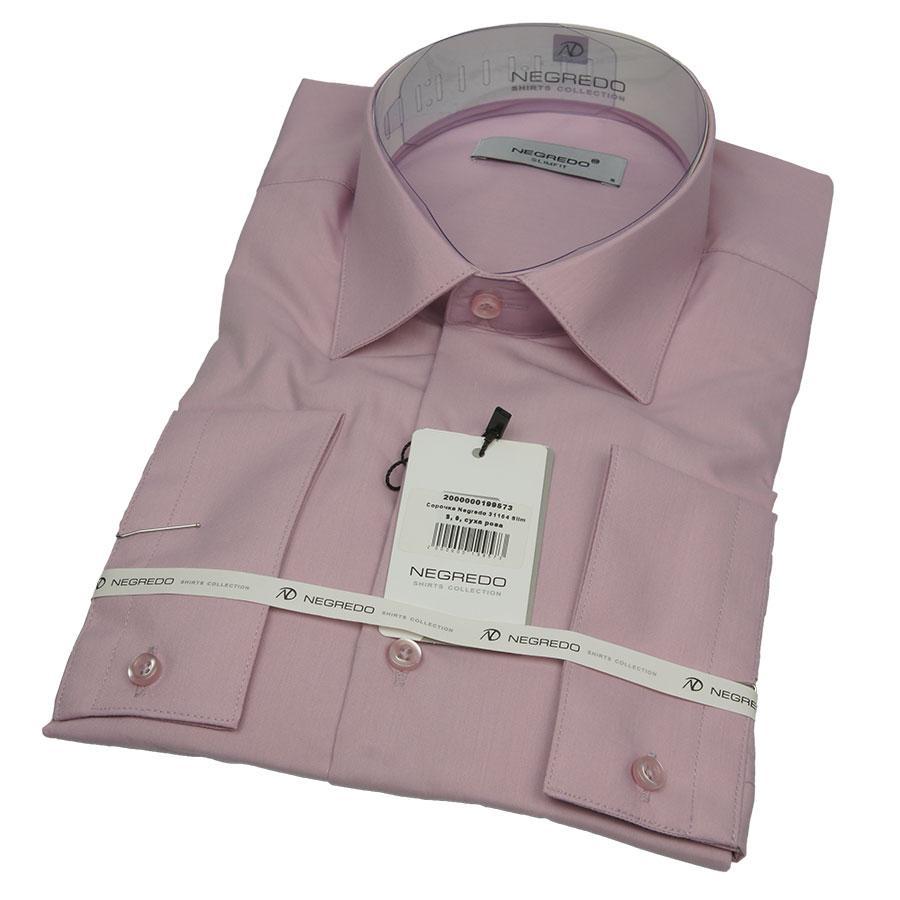 Мужская приталенная однотонная рубашка Negredo 31164 Slim