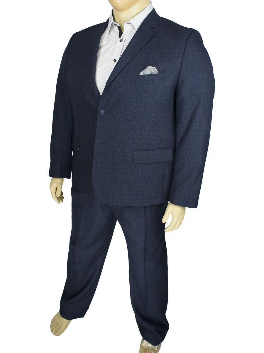 Темно-синий мужской классический костюм в клетку Legenda Class 495#2/11 больших размеров