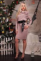 Праздничное женское платье оригинального кроя  с интересным воротником-хомутом