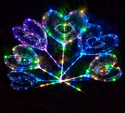 Шарики надувные BOBO, сердце, свет, гирлянда 3 метра, на палке 70см, батарейки, MK2075-3
