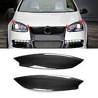 Pair Авто Автоbon Fiber Headlight Бровей Eyelid ABS Обрезной чехол для VW Golf GTI R MK5 05-07 - 1TopShop