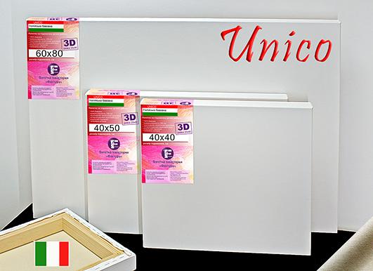 Холст на подрамнике Factura Unico3D 90х90 см Итальянский хлопок 335 грамм кв.м. среднее зерно белый, фото 1